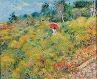 femme à l'ombrelle et enfant dans un paysage by max agostini