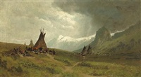 indian camp with mountains in the distance by ransom gillet holdredge