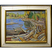 log jam - opeong river - near madawaska village, ont. by ralph wallace burton