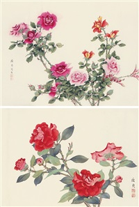 花卉 (二帧) (rose) (2 works; various sizes) by qu zhen