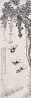 藤花飞燕 立轴 水墨纸本 by ren jin