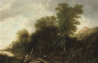a wooded landscape with nymphs bathing in a river by françois van knibbergen
