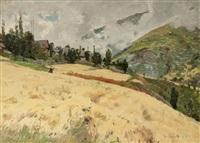 champ de blé en montagne (proveysieux?) by jean-célestin-tancrède bastet