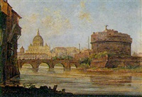 st. peter's and the castel st angelo from the tiber, rome by jacob george strutt