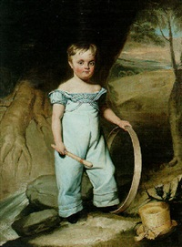 portrait of a boy holding a hoop in a landscape by william henry florio hutchinson