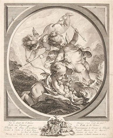 le feu allegorische darstellung mit einem eine fackel haltenden putto after f boucher by jean daulle