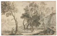 an italianate landscape, with figures walking in the foreground (morning) by herman van swanevelt