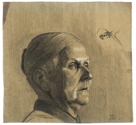 kopf einer alten frau (study) by hans thoma