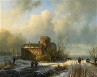 winterliche landschaft mit figurenstaffage by alexander joseph daiwaille