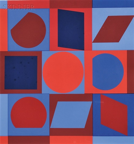 untitled red and blue by victor vasarely
