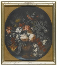 still lifes of assorted flowers in urns, upon ledges draped in blue fabric (3 works) by german school (18)
