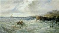 kystparti, en robåd kæmper sig gennem bræandingen mod en havn by louis eugène leroux
