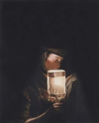 a girl singing ballads by a paper lantern by henry robert morland