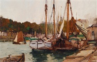 ships at a river branch in berlin city by leonhard sandrock