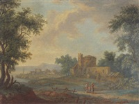 landscape with figures and buildings by a river by carl sebastian von bemmel