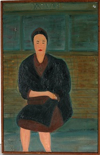 seated woman in black coat by ralph fasanella