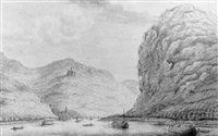 a view of wellmich and burg wellmich from the rhine, lookin upstream by hendrick de leth