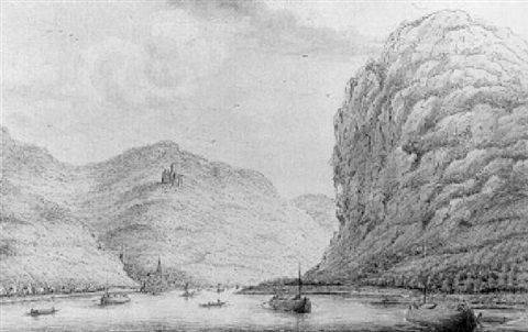 a view of wellmich and burg wellmich from the rhine lookin upstream by hendrick de leth