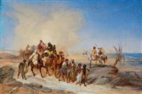 karawane bei nahendem sandsturm by johann hermann kretzschmer