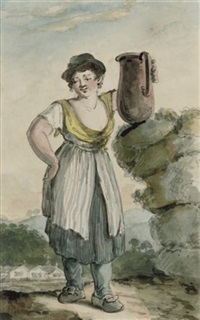 a country girl holding a jug in her left hand, a cottage beyond (+ a country girl carrying a basket on her head; 2 works) by henry william bunbury