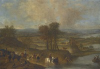 hare coursing in a landscape, with a ruined bridge and fortified tower beyond by philips wouwerman