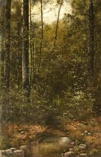 erdőrészlet őzzel by arthur (artur) tölgyessy