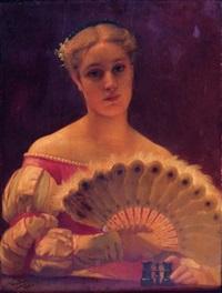 portrait de la vicomtesse marie-amélie de gontaut-biron(?) dans sa loge a l'opéra by eugène verdyen