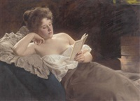 a reclining woman reading by albert ritzberger