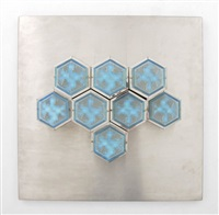 large sconce/applique with honeycomb lit element by poliarte
