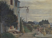 terrace by the side of an italian village road by johann axel gustaf acke