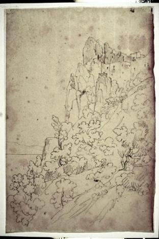 vue dun village au pied du lac dalbano by théodore claude félix caruelle d aligny