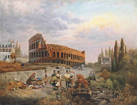 selling vegetables before the colosseum rome by robert alott