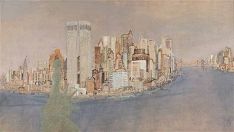skyline von manhattan new york by edmund blechinger