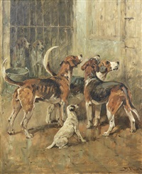 hounds and a terrier in kennels by john emms