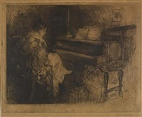 woman seated at piano by william frederick foster