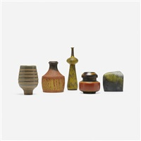 collection of five vases (5 works) by marcello fantoni