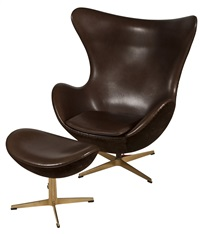 easy chair golden egg with stool by arne jacobsen