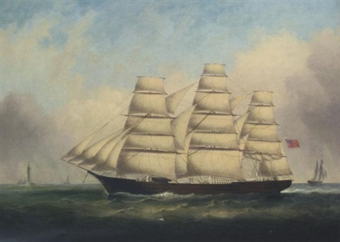 the full rigged tiptree off the eddystone lighthouse by duncan mcfarlane