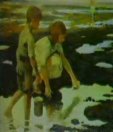 ninos cogiendo conchas en la playa by felipe abarzuza y rodriguez de arias