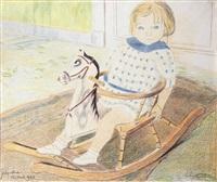 petit enfant sur un cheval à bascule by léon spilliaert