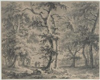 a wooded landscape with travellers on a path, a church beyond by paul van liender