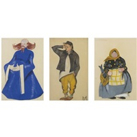 costume designs for a priest and four peasants (5 works) by nina evseevna aizenberg
