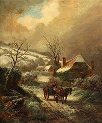 wintry landscape with persons and a horse carriage by albert dunington
