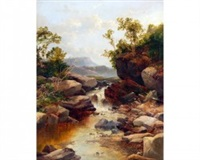 river landscape with waterfall by john brandon smith