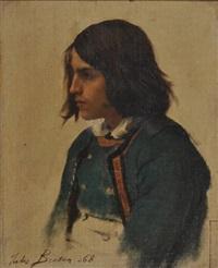 portrait de jeune breton de profil (study for un grand pardon breton) by jules breton