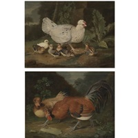 a landscape with a cockrel and a hen (+ a landscape with a hen and her chicks; pair) by jacob samuel beck