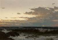 sailboats along a coastal sunset by alfred thompson bricher