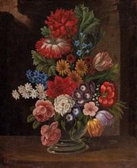 blumenstrauß mit tulpen, rosen und anderen gartenblumen by anton fidler