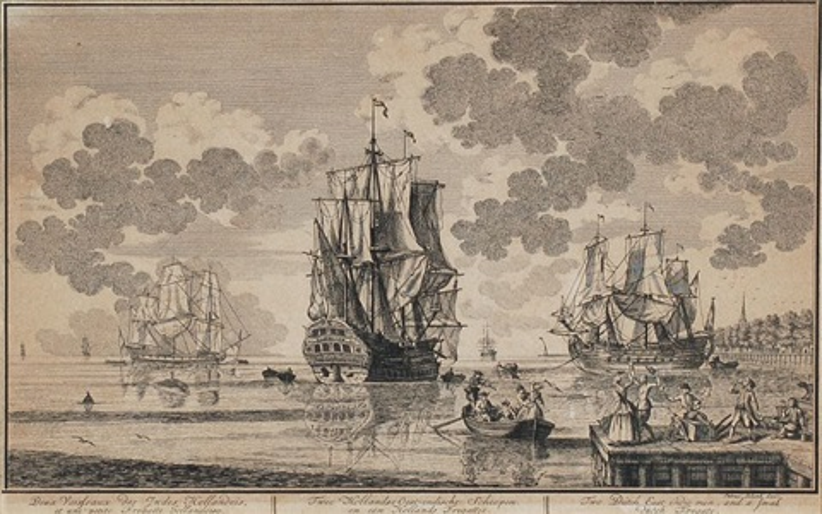 een hollands orlogschip tree hollandse oost indische scheepen by pieter petrus schenk
