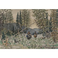 hunters on horseback in a pine forest by appolinari mikhailovich vasnetsov